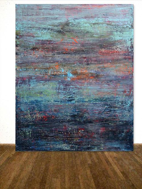 BILD TÜRKIS ORANGE BLAU ROT RAKELTECHNIK NACH RICHTER 120x150cm BLUE PAINTING