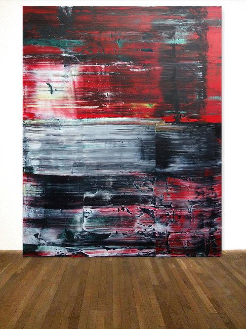 ROTES BILD WEIß SCHWARZ NACH RICHTER 120x150cm RED BLACK WHITE PAINTING