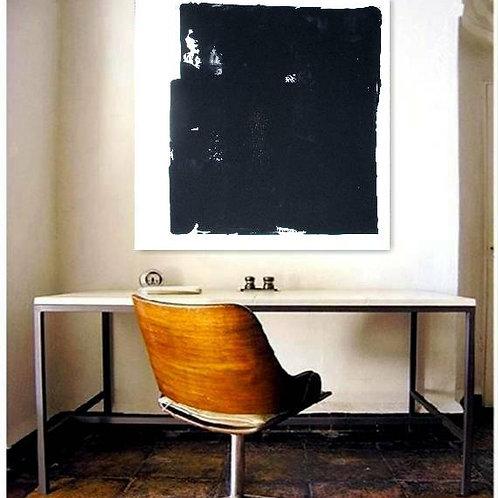 BILD GEMÄLDE 80x80cm BLACK WHITE ABSTRACT PAINTING FINE ART