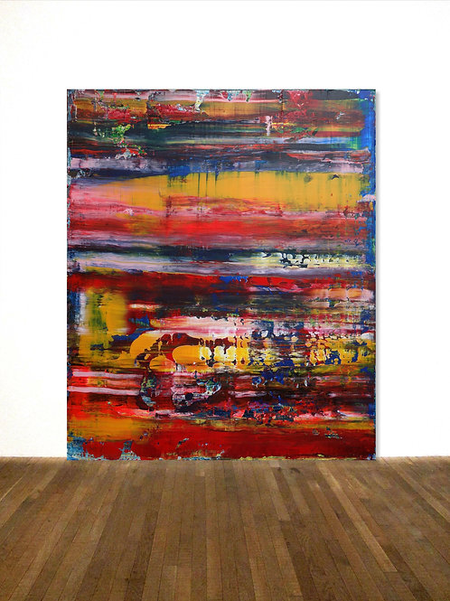 BUNTES BILD LEINWAND RICHTER TECHNIK  100x120 cm ABSTRACT PAINTING