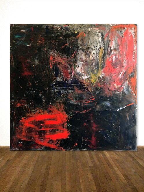 SCHWARZES BILD ORANGE 140x140cm BLACK RED ABSTRACT PAINTING