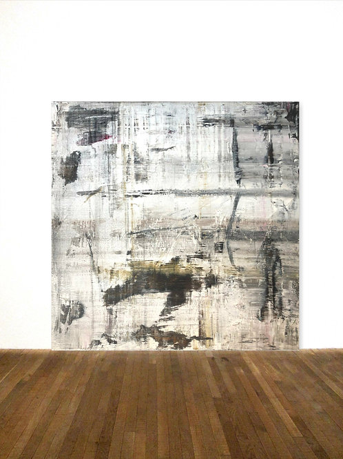 BILD WEIß OCKER SCHWARZ 100x100cm ABSTRACT PAINTING AFTER KLINE