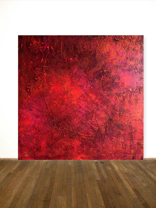 ROTES BILD LEINWAND 120x120 CM RED ABSTRACT PAINTING AFTER ROTHKO