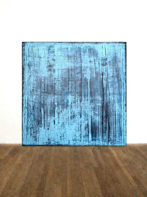 LEINWAND RAKELTECHNIK BILD GEMÄLDE 100x100cm BLUE ABSTRACT PAINTING