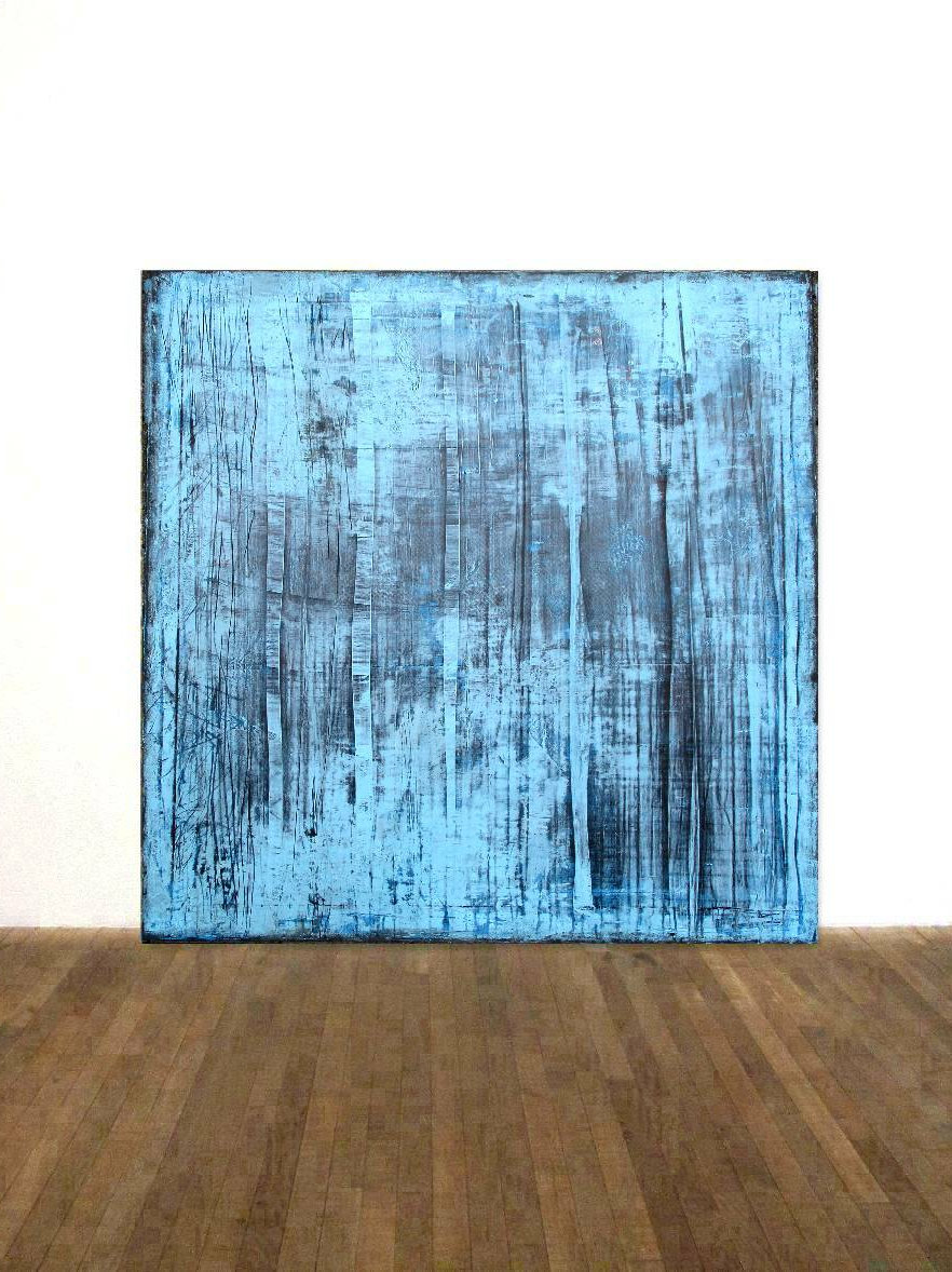 Leinwand Rakeltechnik Bild Gemalde 100x100cm Blue Abstract