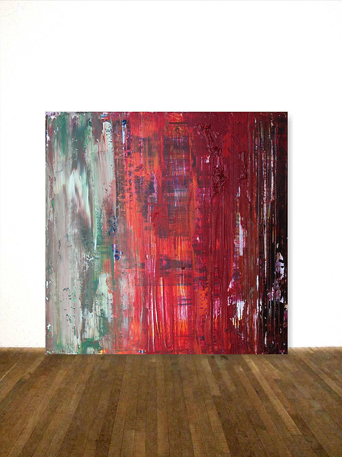 ABSTRAKTES BILD LEINWAND RICHTER TECHNIK  80x80cm ABSTRACT PAINTING RED GREEN