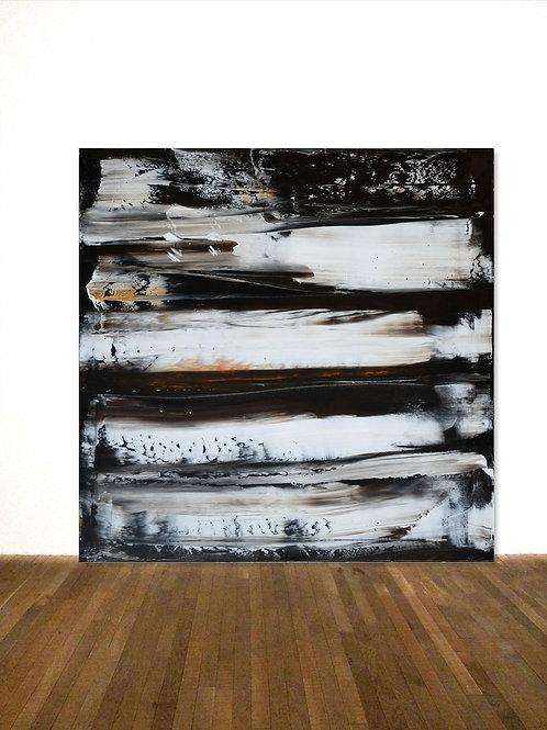 SCHWARZES BILD MIT WEIß/ ORANGE 100 x 100cm BLACK WHITE ABSTRACT PAINTING