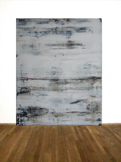 BILD GEMÄLDE 80x100cm BLACK WHITE ABSTRACT PAINTING FINE ART