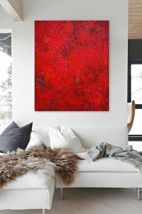 ROTES BILD LEINWAND 120x100 CM RED ABSTRACT PAINTING AFTER ROTHKO