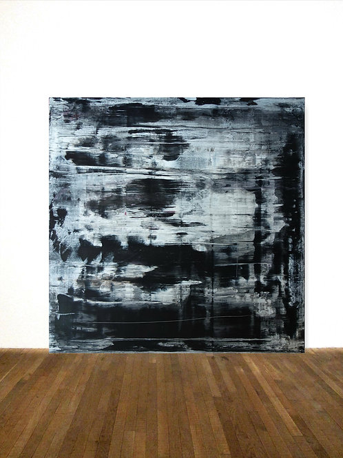 BILD GEMÄLDE 100x100cm BLACK WHITE ABSTRACT PAINTING FINE ART