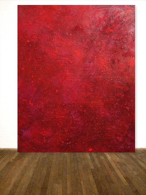XXL BILD ROT ACRYL MIT STRUKTURPASTE 120x150cm ABSTRACT PAINTING RED