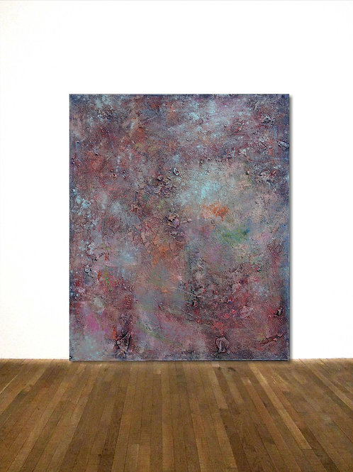 BILD ROSE TÜRKIS LEINWAND 120x100 CM ABSTRACT PAINTING