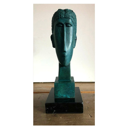 WOMAN`s HEAD MODIGLIANI GRÜNE BRONZESKULPTUR SCULPTURE BRONZE GREEN