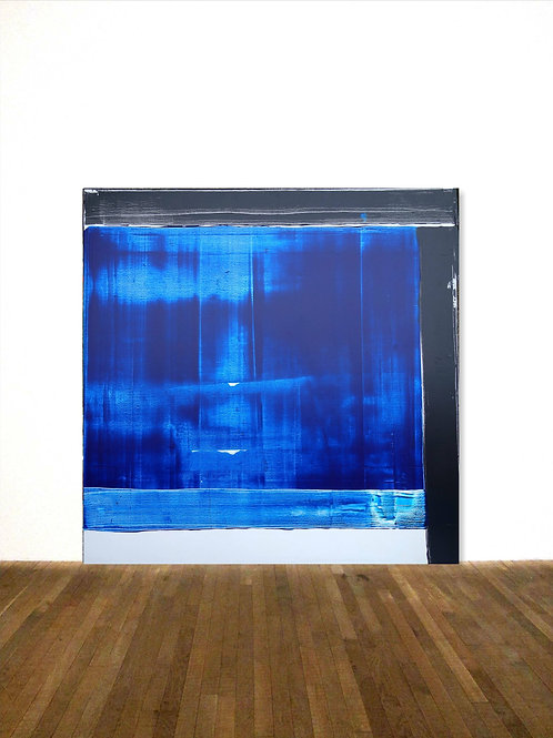 BILD GEMÄLDE 100x100cm SOULAGES HOMMAGE BLUE WHITE ABSTRACT PAINTING