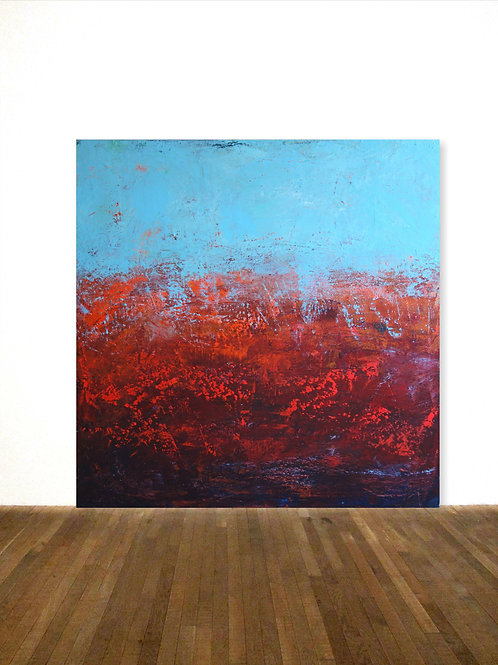 BILD TÜRKIS ROT GEMÄLDE 120x120cm RED BLUE ABSTRACT PAINTING