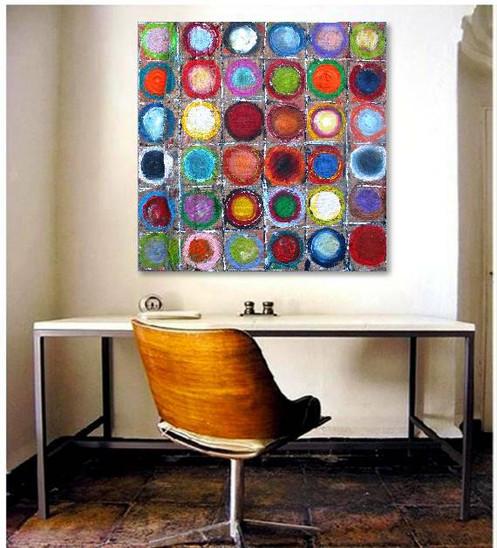 bild kreise circles leinwand kandinsky hommage100x100cm. Black Bedroom Furniture Sets. Home Design Ideas