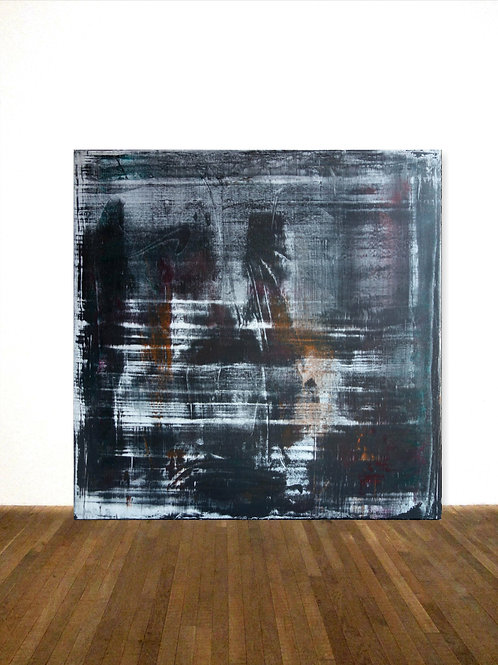GEMÄLDE IN SCHWARZ 100x100cm BLACK WHITE ABSTRACT PAINTING FINE ART