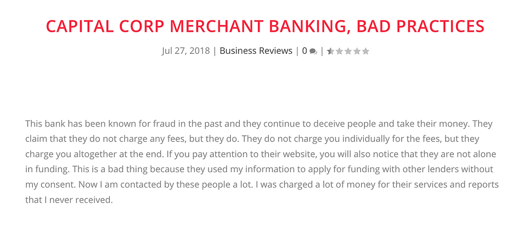 capital corp merchant banking complaints, capital corp merchant banking reviews