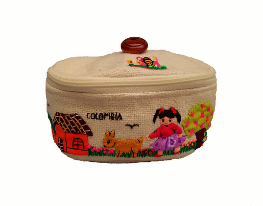 Cosmetiquera lana Tapa Bordada