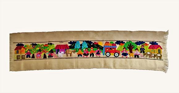 Camino de mesa lana bordado