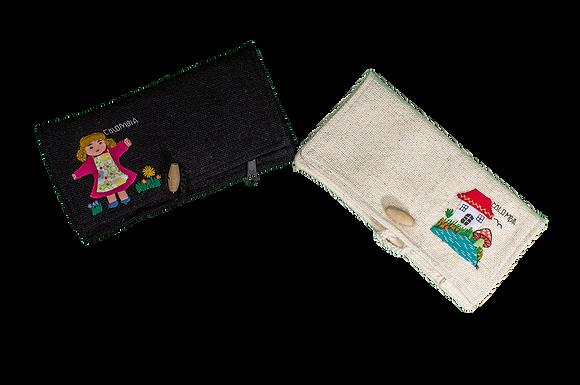 Billetera algodon bordada