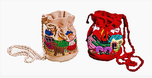 Bolso confite algodón bordado