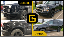 Golden Hammer Collision Cedar Rapids before and after SUV repair photo