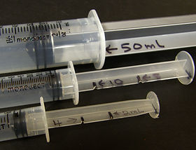 By cutting a notch in the syringe a student who is blind can feel when a syringe has 50, 10, 4, ml of liquid
