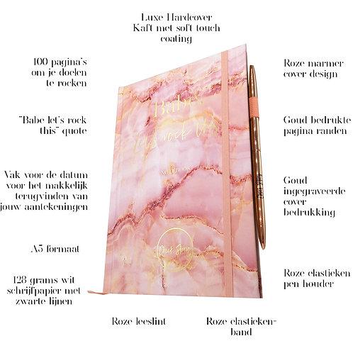 Notitieboek Roze marmer + pen