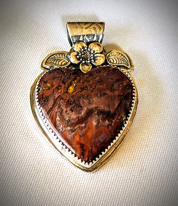 Jasper and sterling silver heart