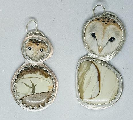 Two little owl pendants