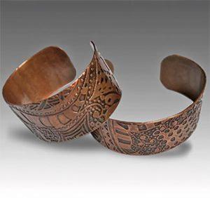 Etched copper cuffs