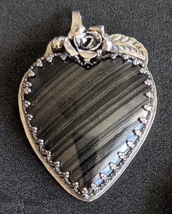 Black banded agate heart pendant