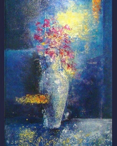 abstract blue vase 1st, 120x70 cm, by Walaa Bashatah 2010