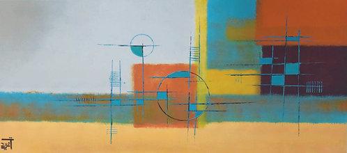 Urban blue By Dr.Tagreed Aljadani 70 x 150cm