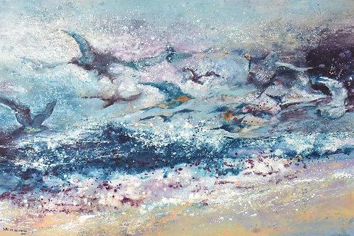 Waves 2nd By Walaa Bashatah 100x150cm, 2017