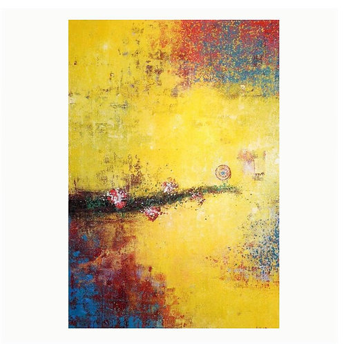 abstract yellow vision the 3rd 120x70 cm, by Walaa Bashatah 2010