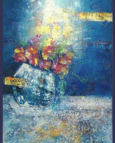 abstract blue vase the 2nd 120x70 cm, by Walaa Bashatah 2010