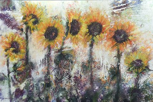 Sunflowers By Walaa Bashatah 100x150cm, 2017
