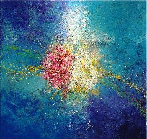 abstract blue 120x120 cm, by Walaa Bashatah 2010
