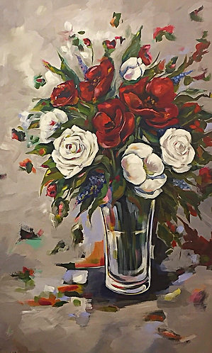 Red Flowers Vase by walaa bashatah 120x70cm 2016