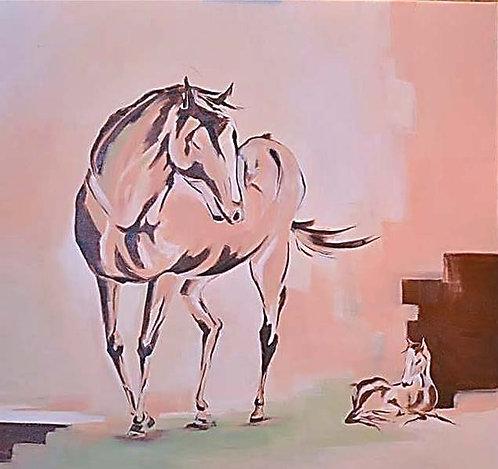horse by walaa bashatah 90x90cm, 2014
