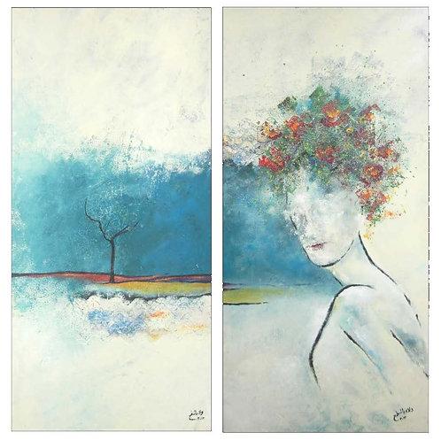 Blue Face by walaa bashatah 120X60cm each 2014