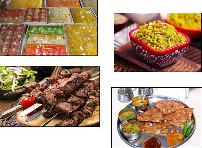 Indian dishes in a frame including kebabs, sweets, snacks and flatbread
