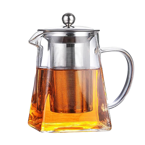 Glass Teapot Heat Resistant   Square  With Tea Infuser Filter and Lid