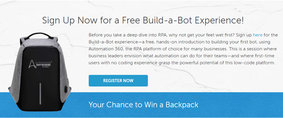 Win an Automation Anywhere backpack!