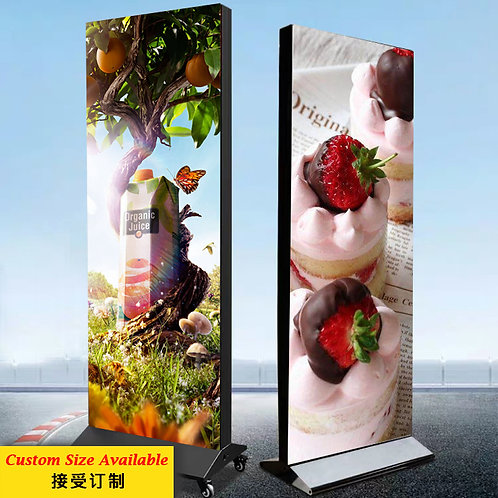 Double Sided Frameless LED Light Box (8cm) With Flat Standee & Roller