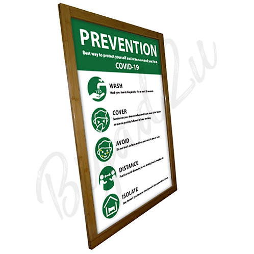 SOCIAL DISTANCING BAMBOO POSTER FRAME WITH PRINTING