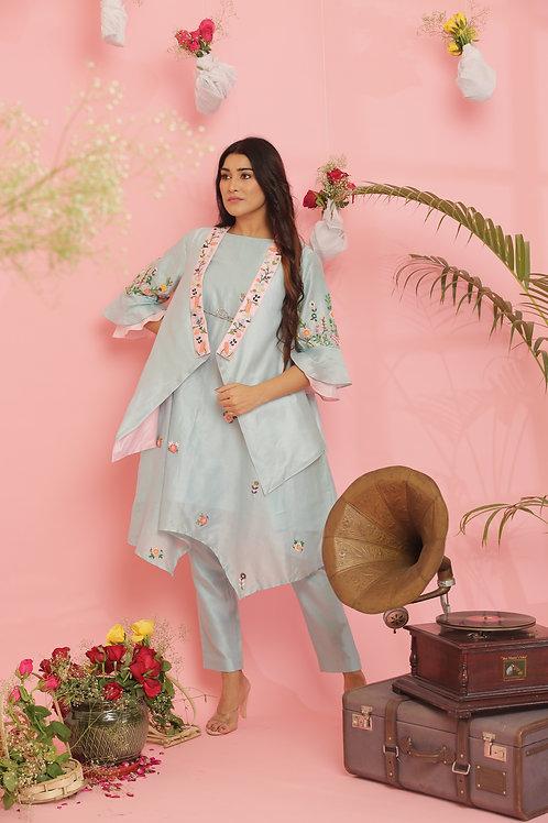 Pastel blue jacket dress