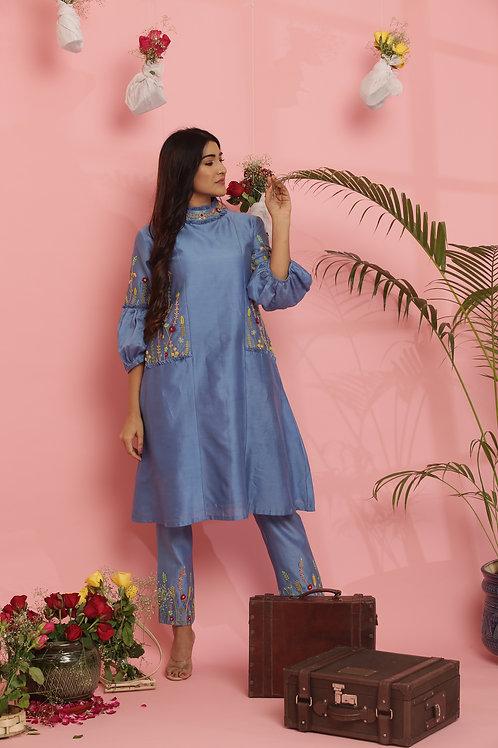 Ocean blue puff sleeved dress